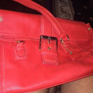 Liz Claiborne new red and gold shoulder purse